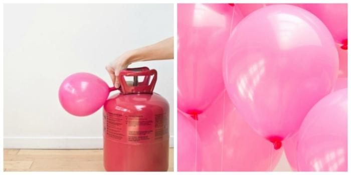 ejemplos de manualidades para cumpleaños, como inflar un globo con englobadora, arco de globos en forma de corazón