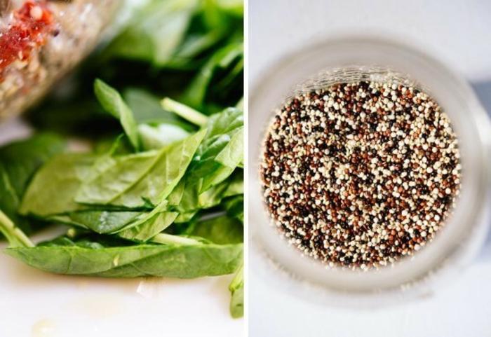 recetas saludables y faciles con espinacas y quinoa, hojas de espinacas y tres tipos de quinoa en un bol