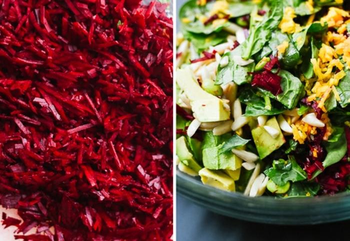sabrosa y sana ensalada de quinoa y aguacate, remolacha rallada, ralladura de limones, aguactes y espinacas