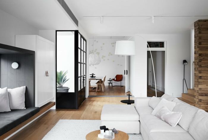 ejemplos de decoracion salon comedor decorado en blanco y gris, elementos arquitectónicos originales, roncón de lectura