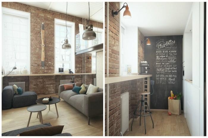 decoracion salon pequeño en estilo industrial, barra de madera con silla alta, ideas para organizar un salón comedor
