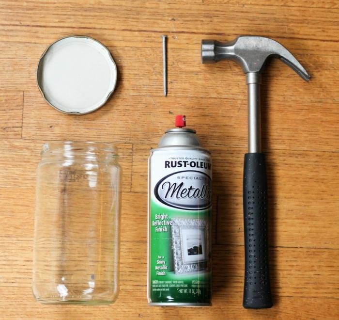 materiales necesarios para hacer una caja de monedas de un bote de vidrio, manualidades con botes de cristal faciles de hacer