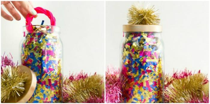 manualidades con botes de cristal, decoración bonita para una fiesta de cumpleaños, bote de vidrio lleno de confetti