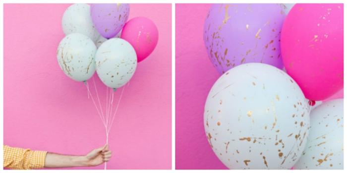 pasos para decorar unos globos de cumpleaños de manera encantadora, globos en azul, lila y color fucsia con detalles en dorado