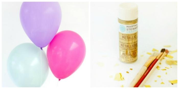 decoración con globos en colores pastel con pintura dorada, manualidades con globos con tutoriales