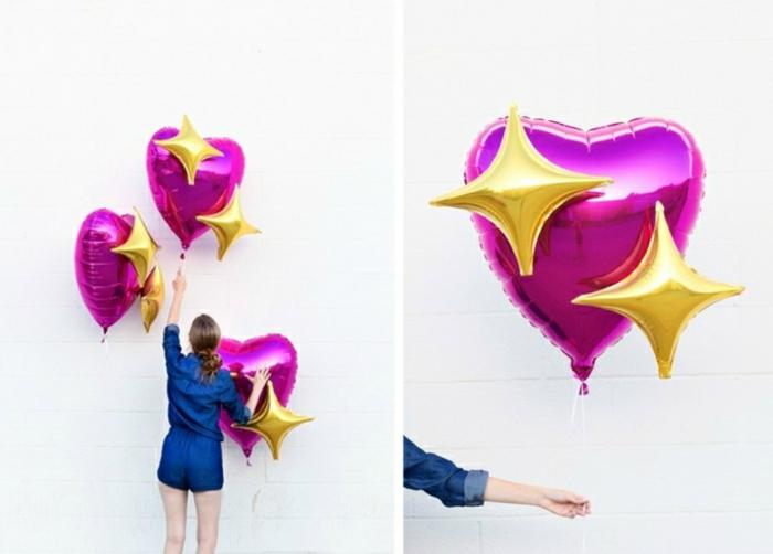 preciosa decoración con globos en forma de corazón, ideas para cumpleaños para sorprender a tu pareja