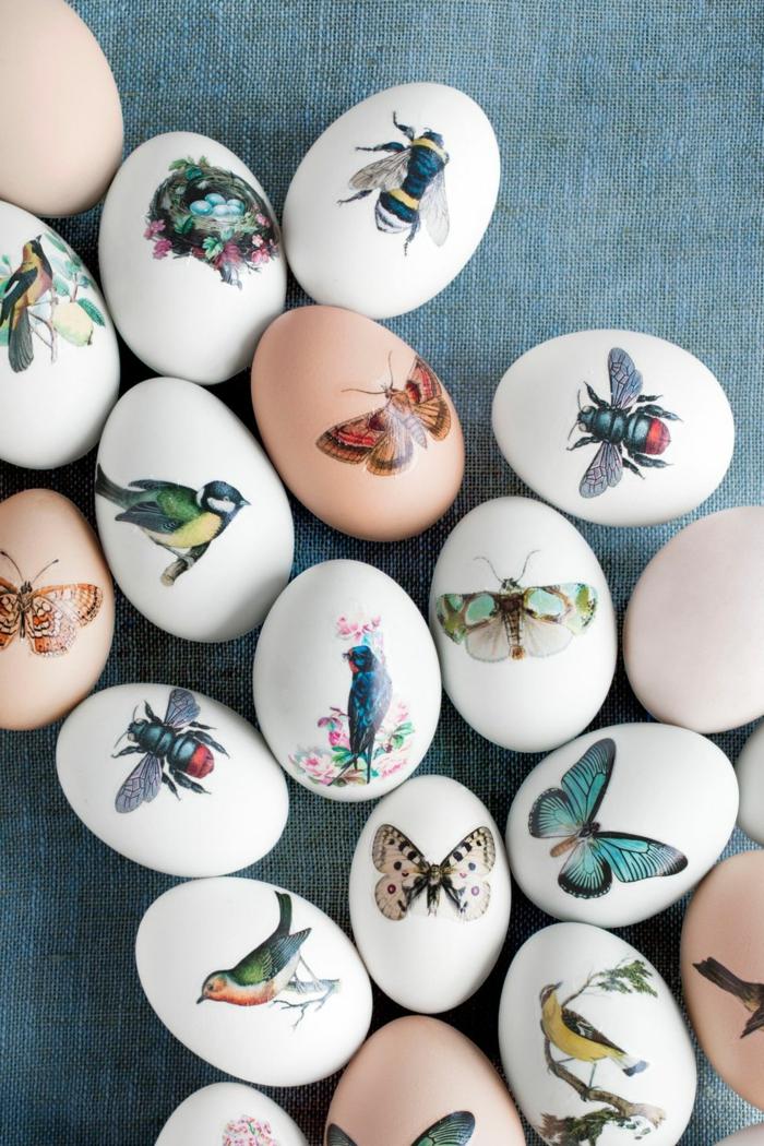 decoración sofisticada y original, dibujos de mariposas y animales, decoración de huevos con pegatinas paso a paso