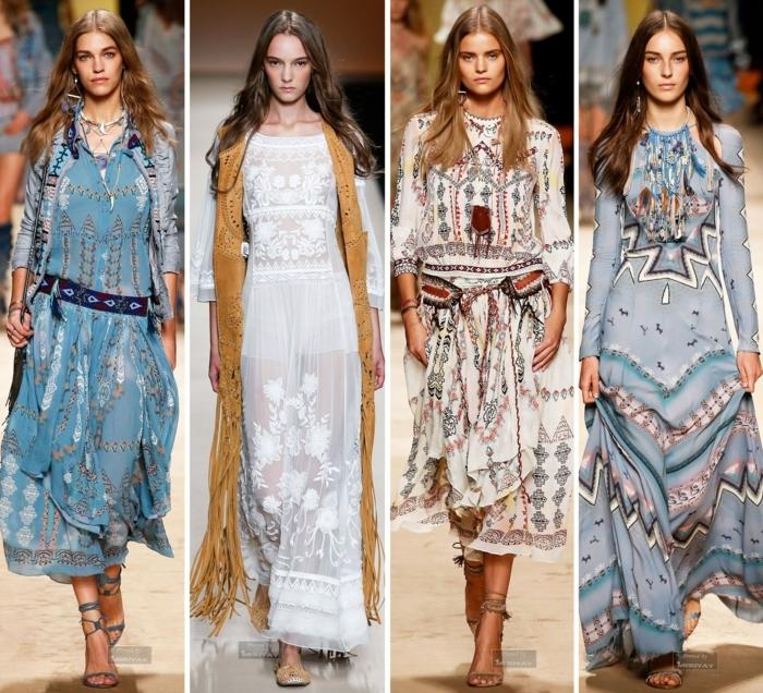 ejemplos modernos de vestido boho, motivos étnicos y florales, diseños bonitos en blanco y azul con ornamentos