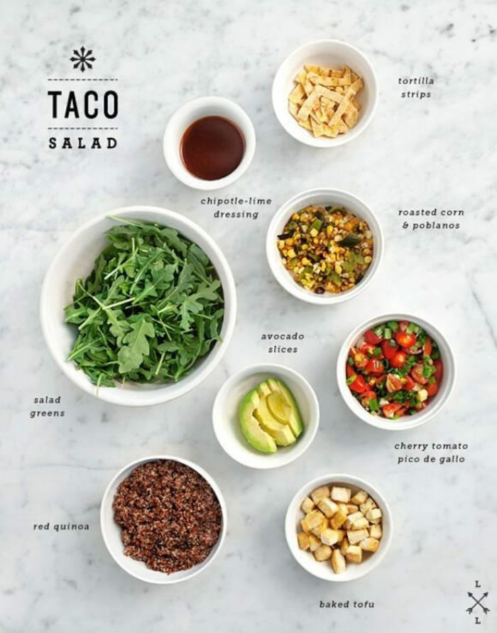ingredientes para hacer unos tacos de encanto, rucola, salsas, aguacate, quinoa roja y verduras, cenas rapidas y sanas