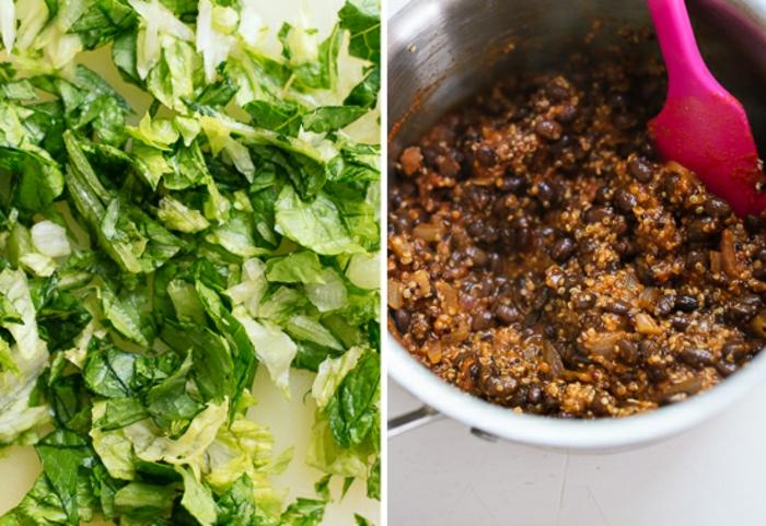 cenas rapidas y sanas paso a paso, ensalada verde de lechuga y cocido con quinoa roja y frijoles negros