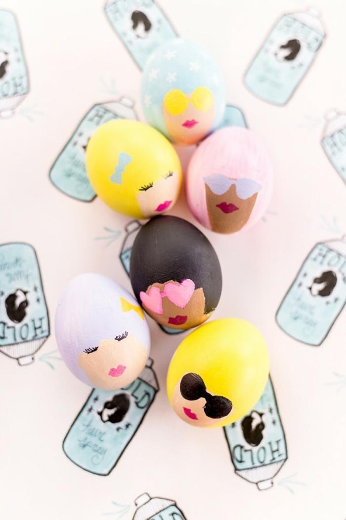 huevos DIY atractivos con caras de mujeres, preciosa ideas sobre como pintar huevos de pascua con tutorial completo