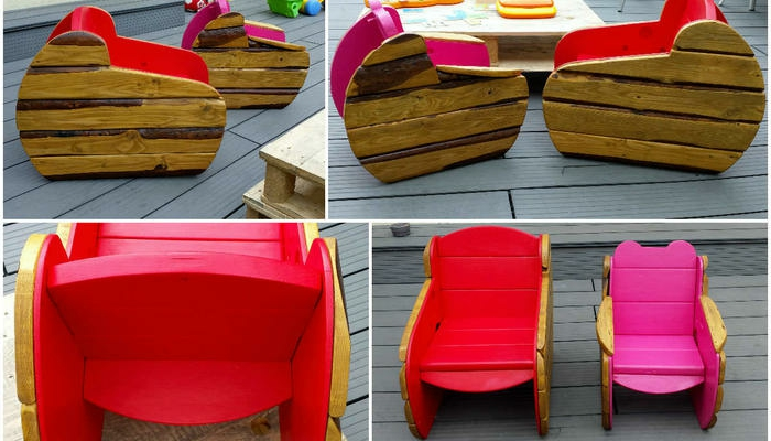 sillas y bancos con palets DIY, bonitas sillas pintadas en colores llamativos para los pequeños