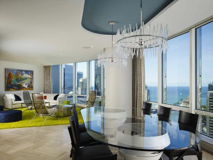 decoracion comedor de encanto, como decorar un salon abierto al comedor, grandes ventanales con vista