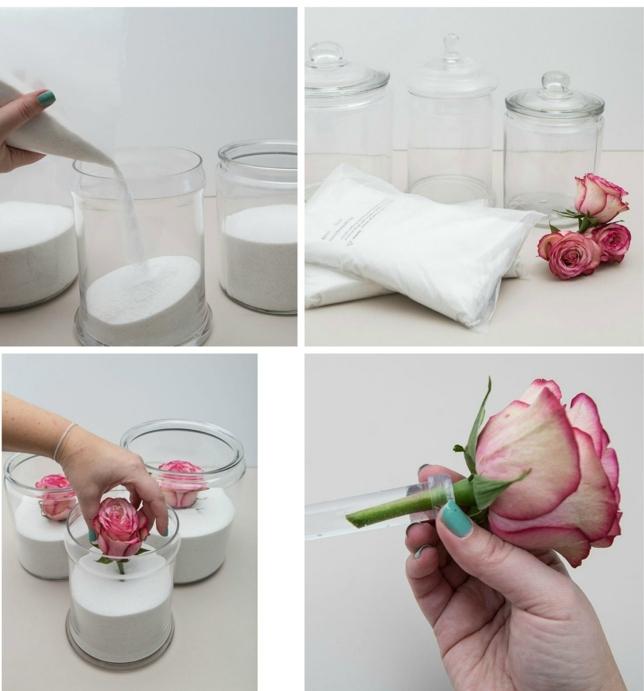 pasos para hacer una bonito centro de mesa DIY, tarros decorados llenos de flores, ideas de manualidades fáciles de hacer
