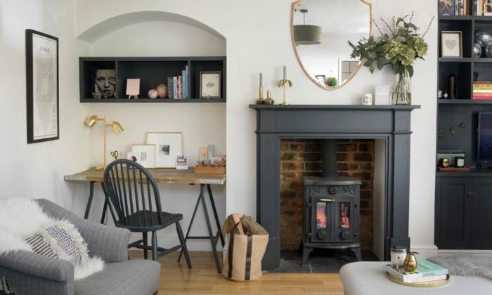 ideas sobre como decorar un salon comedor de encanto decorado en blanco y gris, chimenea de leña e interesantes elementos arquitectónicos