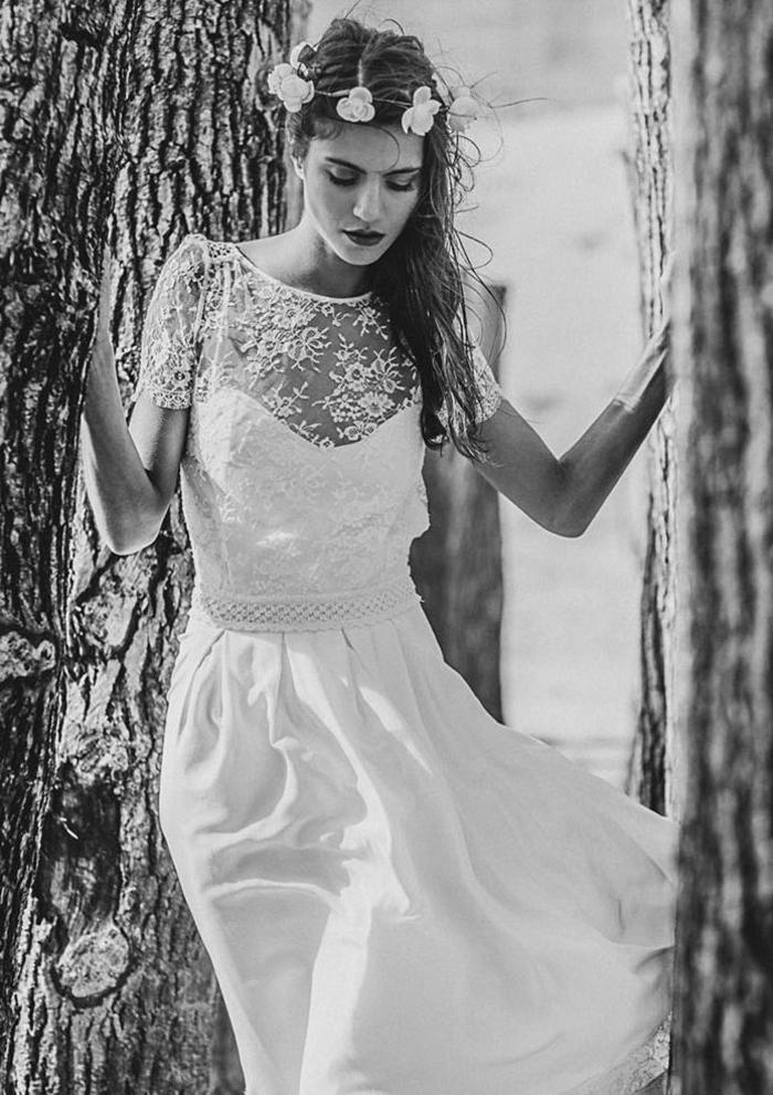 preciosa propuesta de vestidos ibicencos baratos, vestido largo con parte superior de encaje y escote ilusión