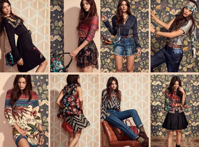 tendencias ropa en estilo boho chic, prendas de denym, vestidos y faldas en estampados florales, vestidos largos estampados modernos