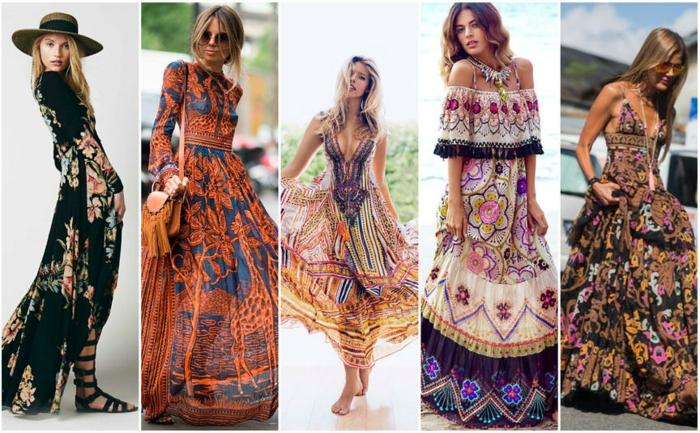 cicno propuestas de vestidos largos estampados, preciosas ideas para el verano, vestidos largos con dibujos de grandes flores