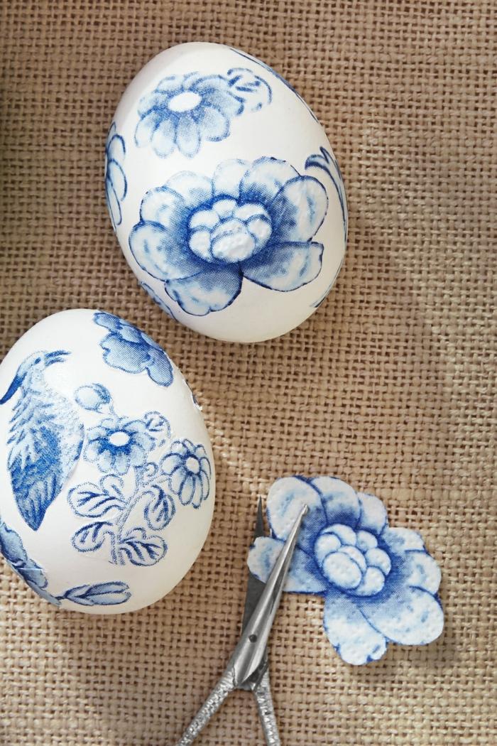 como decorar los huevos de pascua con pegatinas, ideas de decoración de huevos con elementos florales, ideas de dibujos de huevos de pascua