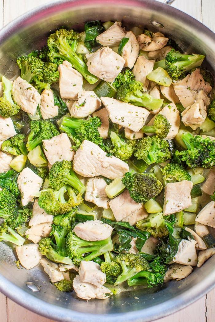 brocoli con pollo cocidos, ejemplos de cenas fáciles paso a paso, propuesta cenas rapidas y faciles