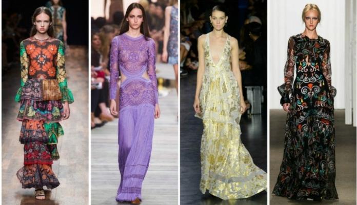 cuatro propuestas modernas vestidos largos estampados, ideas coloridas de vestidos largos de diseño en estilo boho chic