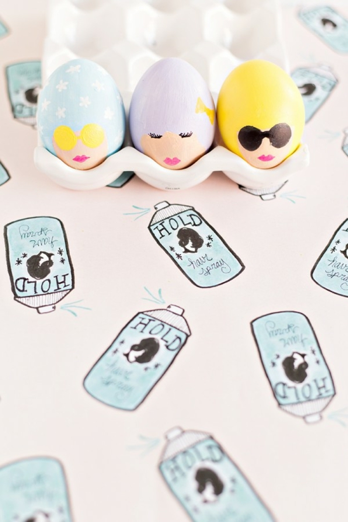 decoración divertida con huevos pintados, huevos de pascua para colorear con dibujos de caras de mujeres