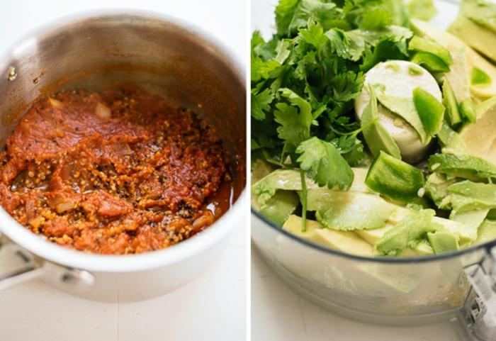 recetas de comidas rapidas y faciles, cocido de quinoa con salsa de tomate y salsa de aguacate con perejil