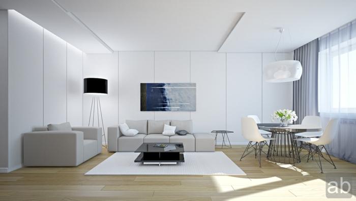 como decorar un salon comedor moderno en blanco y gris, muebles modernos en beige y gris y comedor pequeño