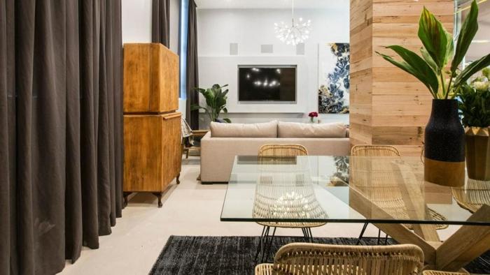 propuestas sobre decoracion de salones pequeños, comedor de encanto abierto al salón decorado en estilo clásico