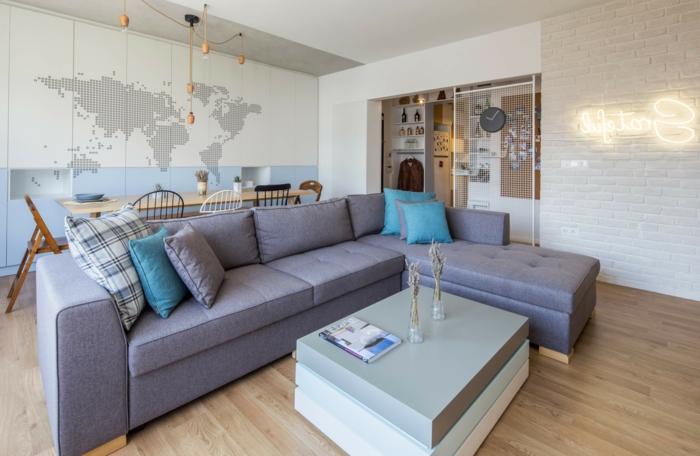 espacio intercomunicado, salón con sofá de esquina y comedor moderno, decoracion de salones en estilo contemporáneo