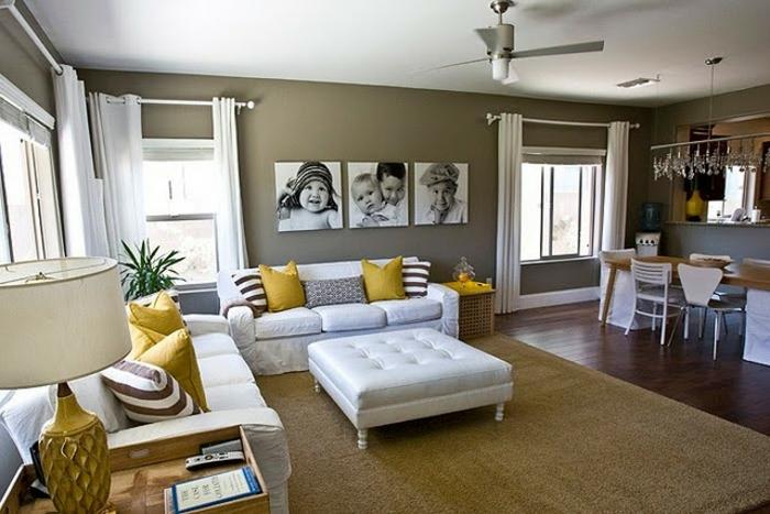 decoracion de salones modernos en color ocre y amarillo mostaza, mesa vintage baja en capitoné color blanco