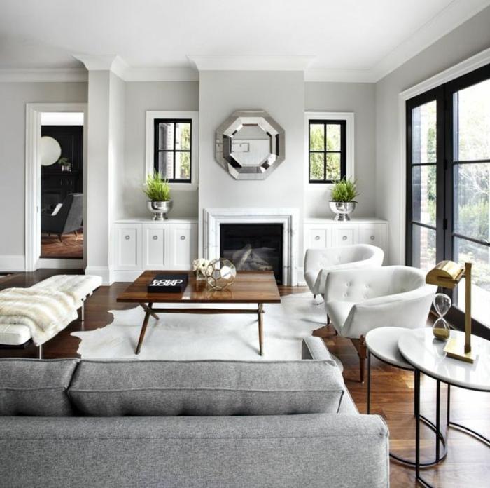 como decorar un salon comedor moderno en blanco y beige, grandes ventanales y muebles de diseño moderno