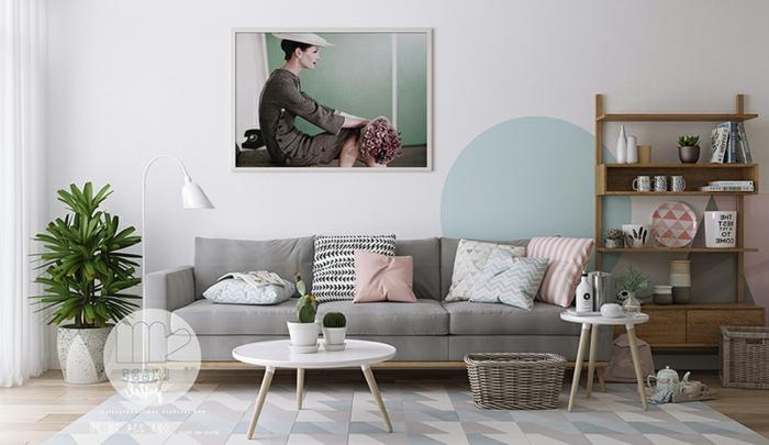 ideas para decorar un salon en colores pastel, salón moderno con grande pintura en la pared, alfombra original en tonos pasteles