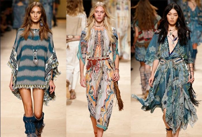 diseños de encanto ropa hippie mujer, tres propuestas en estilo boho chic, vestidos de diseño moderno con accesorios originales