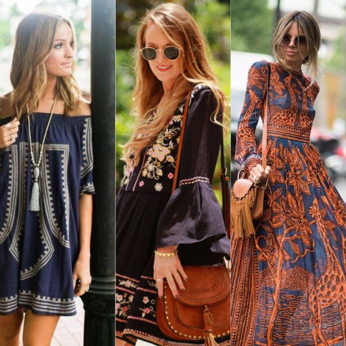 tres ejemplos de vestidos maxy en estilo boho chic, ropa hippie mujer con estampados de flores