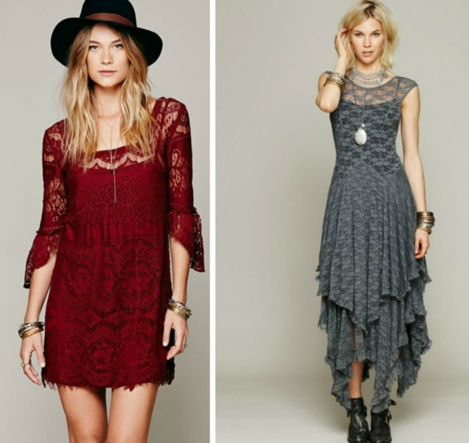 dos propuestas modernas de vestidos en estilo hippie chic, vestido rojo corto de encaje y vestido largo en gris con falda asimétrica, ejemplos de vestidos ibicencos baratos