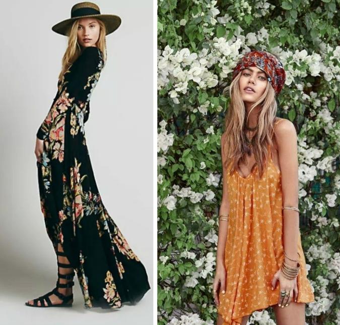 bonitas ideas vestidos ibicencos baratos, vestido corto y largo en estampados de flores, propuestas ideales para el verano