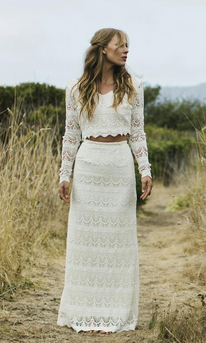 propuesta encantadora de encaje, vestido de dos piezas, vestidos de novias sencillos en estilo boho