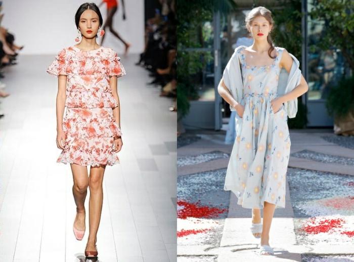 dos propuestas de vestidos para el verano en estilo hippie chic, ropa boho chic con motivos florales, colores modernos claros