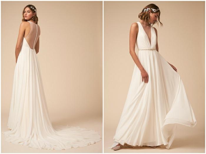 precioso vestido largo en color blanco perla, vestido hippie de tul con espalda semidescubierta y pelo suelto ondulado