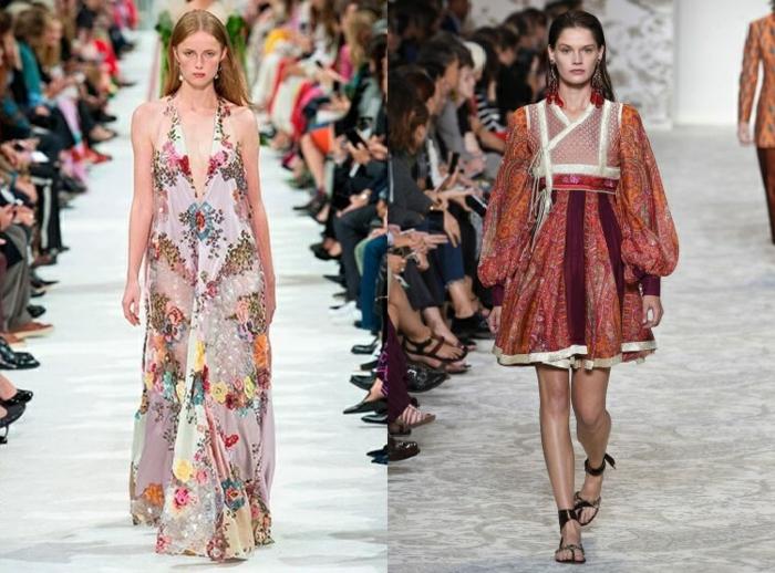 tendencias vestido boho 2018, dos propuestas de vestidos en boho chic, diseños originales con estampados de flores