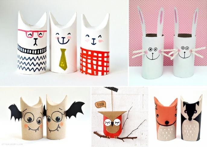 diferentes ideas sobre qué puedes hacer con tubos de cartón, ideas reciclables manualidades con tubos de carton