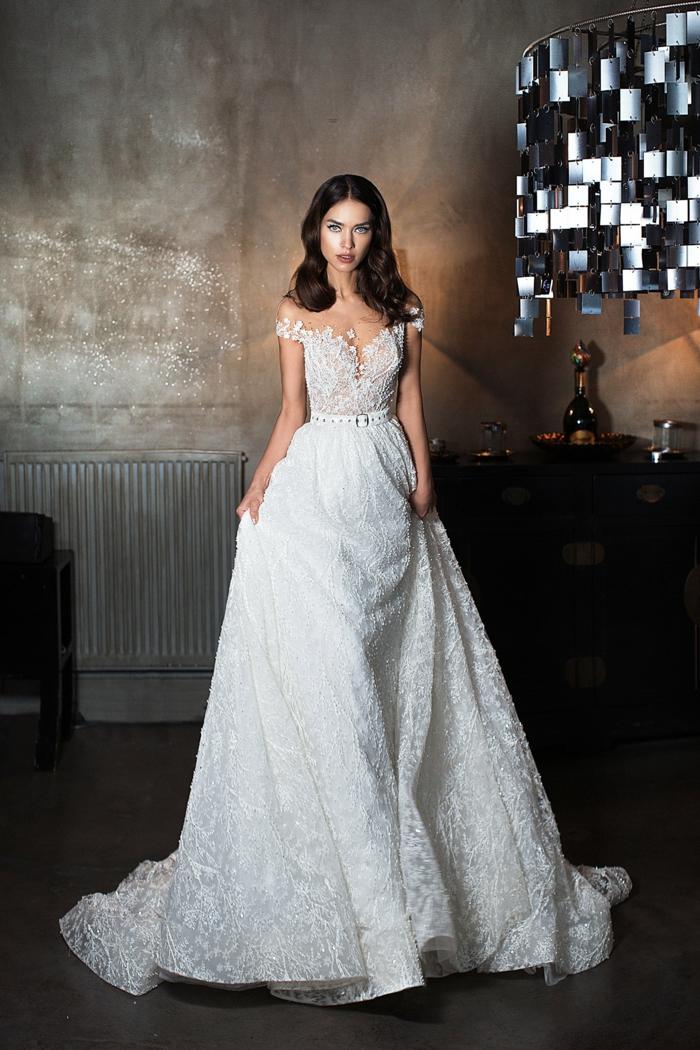 propuesta glamorosa vestidos de novia con encaje, corte princesa con cintura alta, parte superior de encaje con mangas caídas
