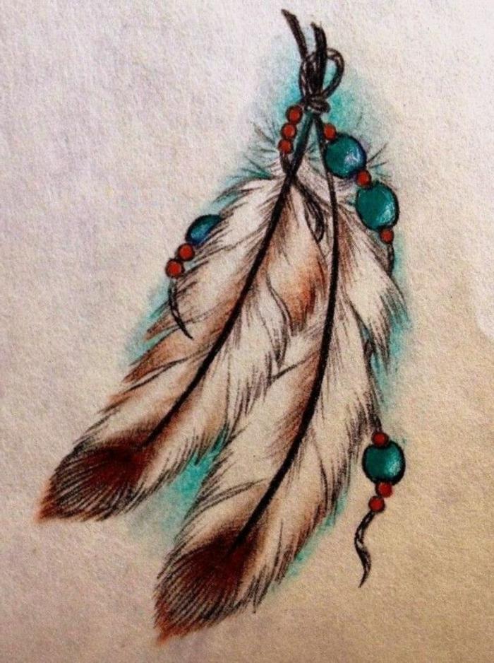 dibujos en papel de tatuajes de plumas, plumas indianas de encanto, precioso tatuaje con simbologia