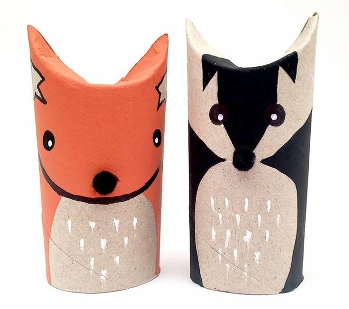 animales simpáticos, figuras decorativas hechas de tubos de cartón, manualidades con tubos de papel higienico originales