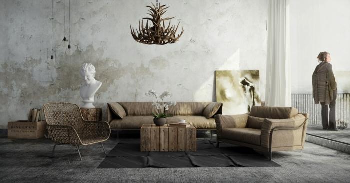 decoracion de salones rusticos, paredes blancas con efecto envejecido, muebles en beige y decoracion en estilo rustico