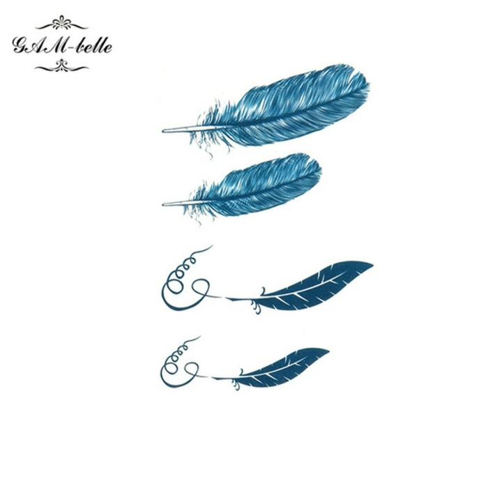 dibujos de tatuaje pluma en azul, diferentes diseños bonitos, diseños originales para hombres y mujeres