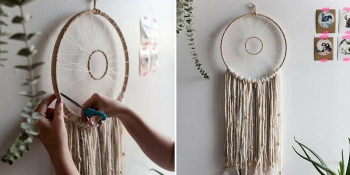 tutoriales sobre cómo hacer un atrapasueños paso a paso, bonita decoración para el hogar con significado
