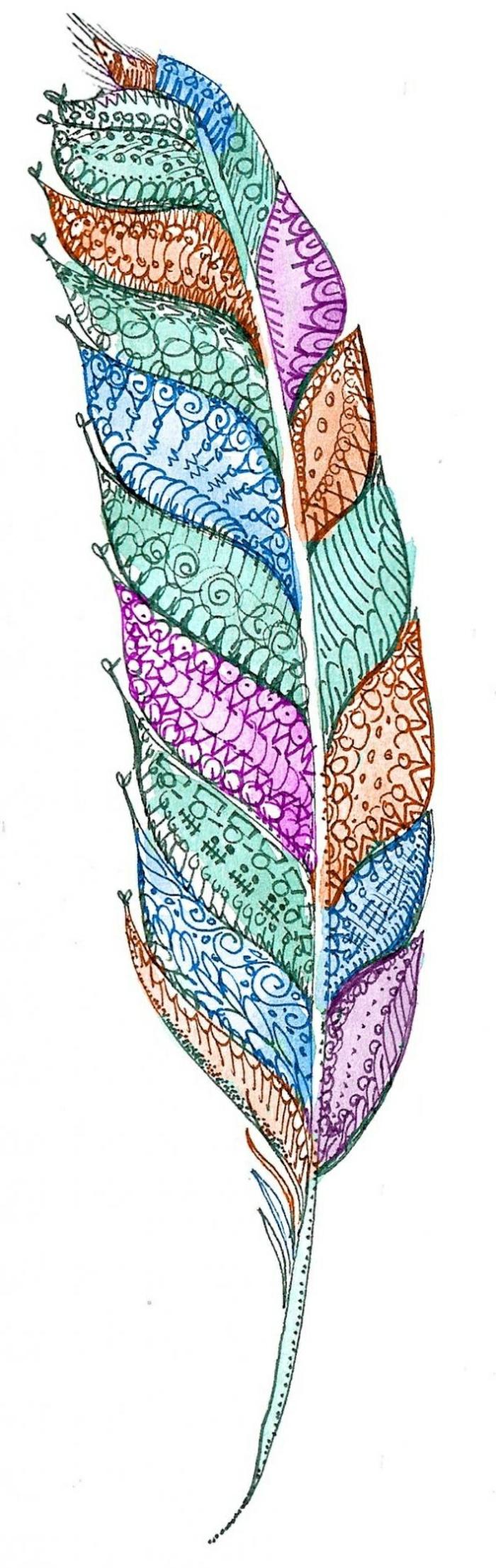 ejemplos de tatuajes en el brazo con plumas, pluma colorida con ornamentos pintada con pinturas acuarela