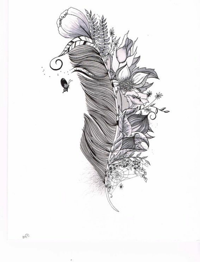 tatuaje pluma con flores, bonito dibujo de tatuaje con pluma, diseño original y simbolico